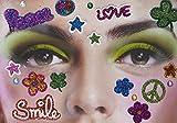 Gesichts Tattoo Face Art Halloween Karneval Flower Power