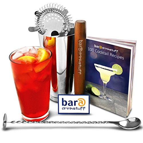 bar@drinkstuff - Set di accessori per cocktail in acciaio INOX, con shaker Boston (vetro e metallo), strainer Hawthorne, libro con 100 ricette di cocktail, pestello e cucchiaio di miscelazione