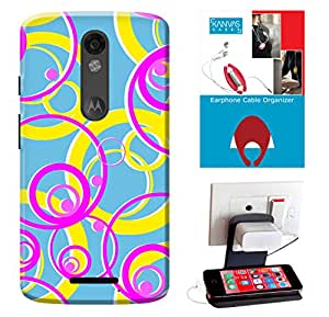 Kanvas Cases Printed Back Cover For Motorola Moto X Force + Free Earphone Cable Organizer + Mobile Charging Holder/Stand