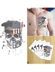 COKOHAPPY 5 Feuilles Coloré America Flag USA Soldier Crâne Look Réal Corps Art Temporaire Tatouage