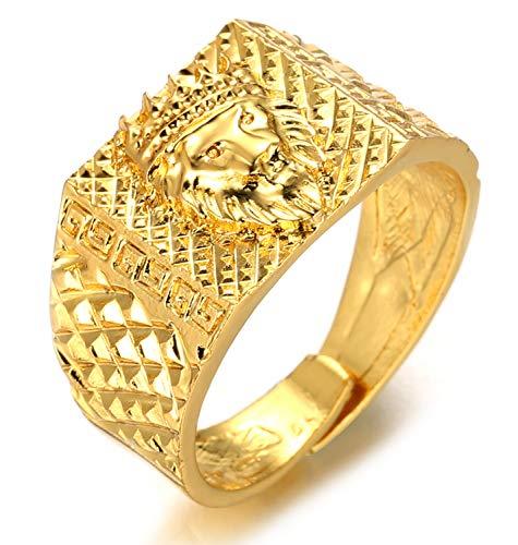 Halukakah ● Kings Landing ● Herren 18k Real Vergoldet 3D Krone Löwenkopf Ring Größe Einstellbar mit Kostenloser Geschenkpackung (Ring Mit Krone)