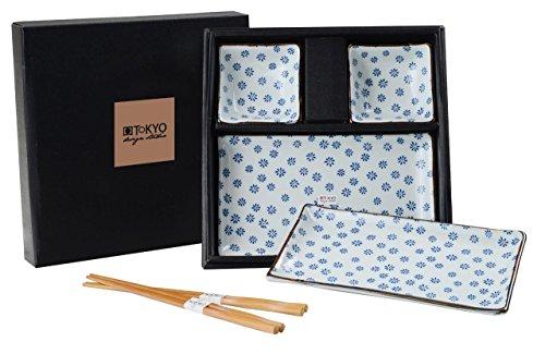 Tokyo Design Studio, Sushi Assiette+bol+baguette, porcelaine japonais, Floral Blue - Coffret de 2