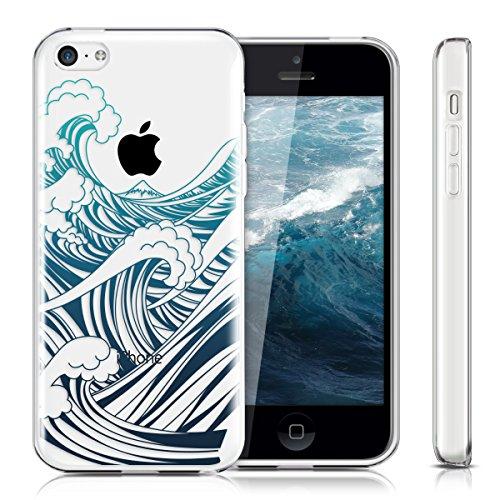 kwmobile Étui TPU silicone élégant et sobre pour Apple iPhone 5C en transparent onde IMD bleu bleu foncé transparent