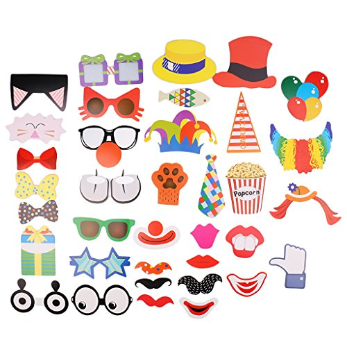 MagiDeal 36pcs Zirkus Fotorequisiten Fotoaccessoires für Hochzeit, Geburtstag, Abschlussfeier oder jede andere Party