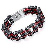 Herren Armband Edelstahl Fahrradkette schwarz rot , OIDEA 16mm Breite Armreif Armschmuck Armkette Handgelenk Biker Motorradkette