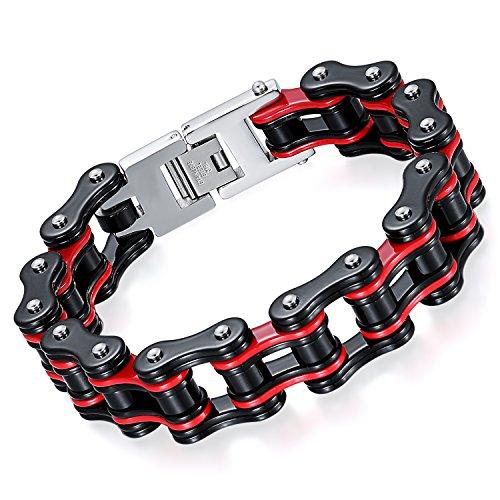 Oidea Herren Armband Edelstahl Fahrradkette schwarz rot 16mm Breite Armreif Armschmuck Armkette Handgelenk Biker Motorradkette