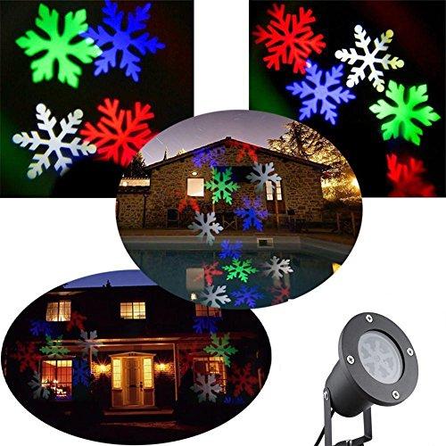 fest in Bewegung Weiß Stern/Color Schneeflocken-LED Wand Dekorative Spot Beleuchtung Sterne Lampe-Nacht Color (Schwarz Und Weiß Halloween Pics)