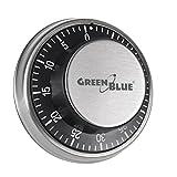 Green Blue GB152 Mechanischer Küchentimer Zeitmesser Eieruhr mit Magnetischer Rückseite Kochuhr Kurzzeitmesser 59min, Silver - Black