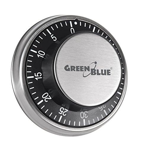 Temporizador minutero timer de cocina mecánico con imán magnético cronómetro Green Blue 60 minutos...