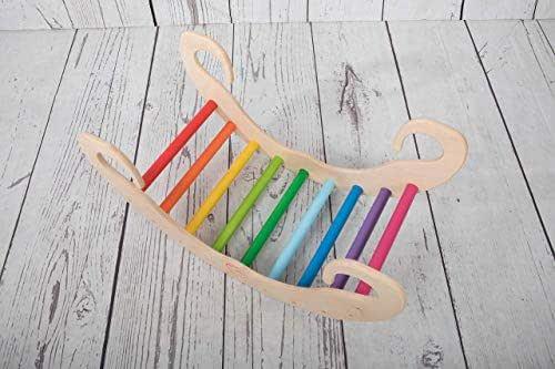 Pi-Rockkids gioco a dondolo in legno rainbow montessori waldorf Pikler regalo per bambini arrampicata dai 6 mesi in poi arcobaleno rocker