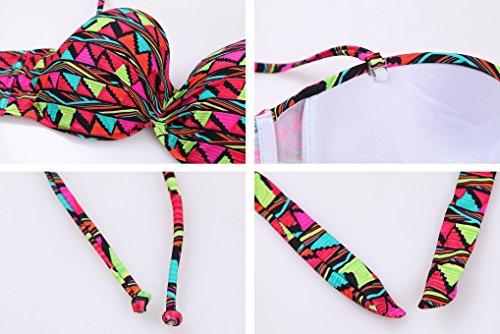 FGRACE Beach-Bandeau-Bikini Set Badeanzug für Multi Floral bedruckte sowie Wasserdichte Rucksack Multicolor1