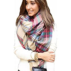 Meily Abrigo de la bufanda del mantón de la tela escocesa de Cozy Chequeado Mujeres Señora Manta Tartán de gran tamaño