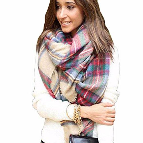 Meily Abrigo de la bufanda del mantón de la tela escocesa de Cozy Chequeado Mujeres Señora Manta Tartán de gran