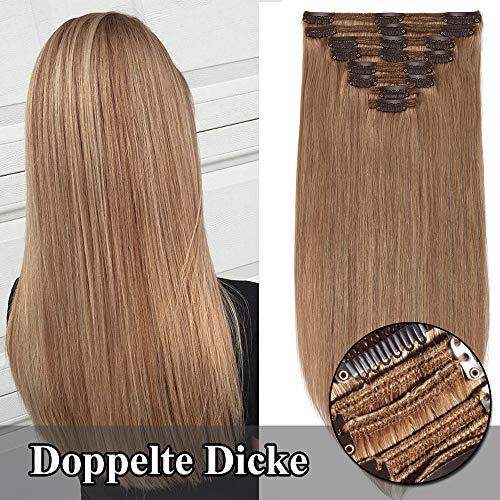 TESS Echthaar Extensions Clip in guenstig Haarverlängerung Doppelt Tressen für komplette Haarextension 8 Teile 18 Clips Glatt 7A Dicke Haarteile (60cm-170g, 27 Dunkelblond)