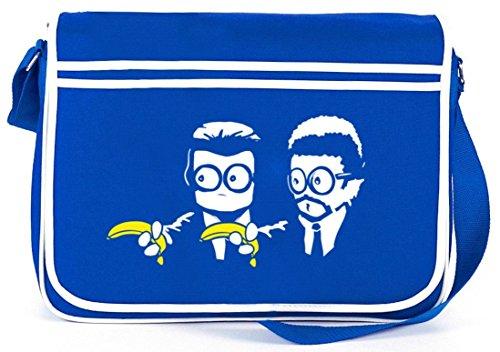 Shirtstreet24, Banana Shoot, Retro Messenger Bag Kuriertasche Umhängetasche Royal Blau