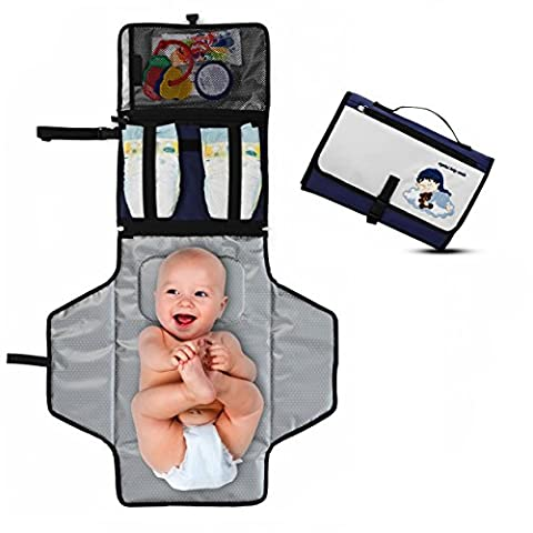 Portable Diaper Changing Pad - Premium Quality Travel Changing Station Kit - Entirely Padded Mat - Mesh and Zippered Pockets - Hassle-free Diapering ON THE GO! - Best of Baby Shower Gifts!-Baby Dream