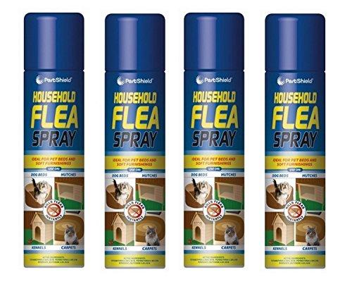 Flohkiller-Spray 4x 200ml Aerosol Tierflöhe Hunde Katzen Zeckenschutz im Haus