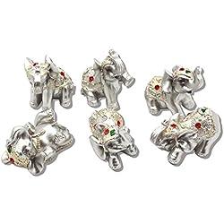 Feng Shui Conjunto de 6pequeños plateado elefantes estatuas riqueza suerte Figuras de decoración para el hogar regalo bs122(plata), Plateado