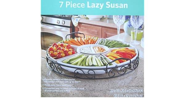 7 piece white ceramic lazy susan with wrough iron base amazonin home u0026 kitchen