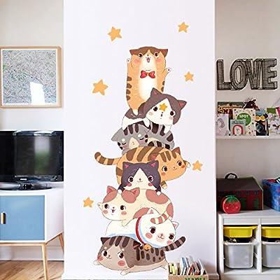 HCCY Schlafsaal Hintergrund wand Dekoration Kunst süße Katze Aufkleber Wohnzimmer Schlafzimmer warme Wand-60 * 130 cm