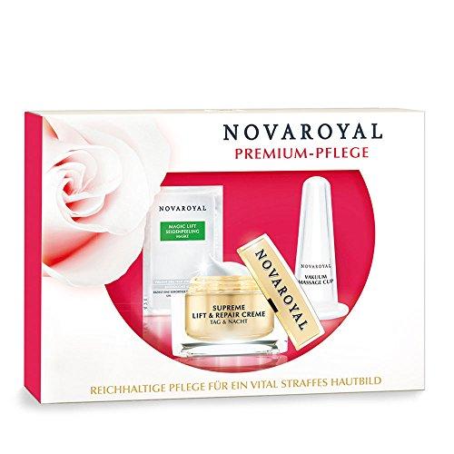 NOVAROYAL® Anti Falten Set für Frauen ab 60 | das optimale Pflegeprogramm für ähnlich effekte Faltenkorrektur wie bei einer Faltenunterspritzung | bremst den Hautalterungsprozess | mit Sofort-Lifting-Effekt | enthält: Supreme Lift & Repair Creme Tag & Nacht 50ml + Magic Lift Seidenpeeling Maske Sachet + Vakuum Massage Cup | für ein vitales, sichtbar glatter und jünger wirkendes Hautbild (Sauerstoff-nachtcreme)