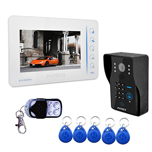 PUTECA 7 inch TFT LCD white Outdoor unit 700TVL 5 IR LED Night vision Camera Remote control ID card Keypad Black Indoor Unit Wire Video Door Phone Doorbell Intercom System 1 VS 1