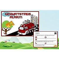 Feuerwehr-Mann Einladungskarten zum Kindergeburtstag für Jungen Sam | Geburtstagskarte für Kinder mit Motiv Feuerwehrauto (rot) | Set: 8 Stück