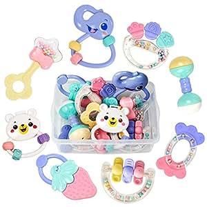 Tumama Bébé hochets de dentition cadeau ensemble main Jingle secouant Bell bébé nouveau-né jouets de dentition avec valise Pack de 8