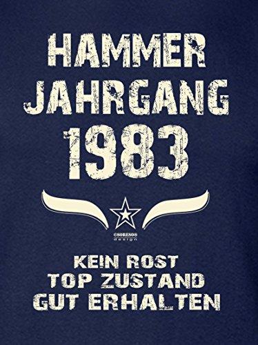 Geschenk zum 34. Geburtstag :-: Geschenkidee kurzarm Geburtstags-Sprüche-T-Shirt mit Jahreszahl :-: Hammer Jahrgang 1983 :-: Geburtstagsgeschenk für Männer :-: Farbe: navy-blau Navy-Blau