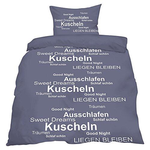 """Bettwäsche Microfaser \""""Sommer\"""" 135x200, Kuschel grau"""