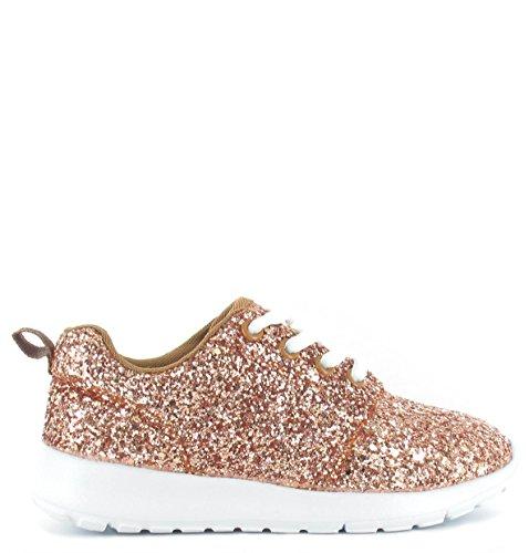 SHUMAD  Glitter Trainers, Mädchen Sneaker Kinder Größe 28 EU-34 EU Rose