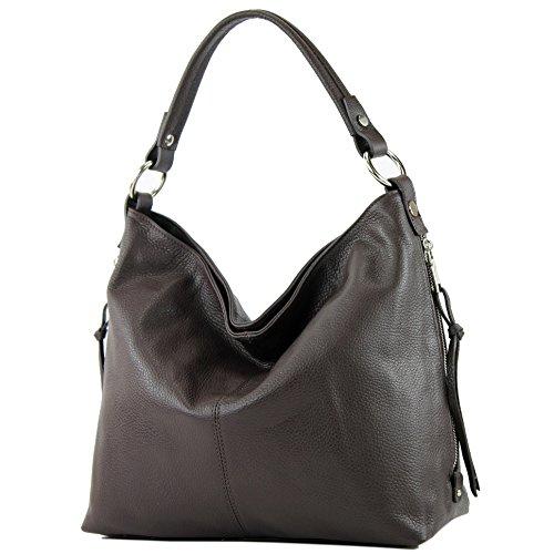 modamoda de - ital Shopper Bolsa de hombro grande de cuero T160, Color:chocolate oscuro