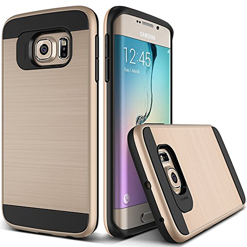OnPrim Stylish Wiredrawing Surface Flexible Silicone Rubber And Hard PC Hybrid Double Layers Defend Armour Case For Samsung Galaxy S6 5.1 Inth Gold