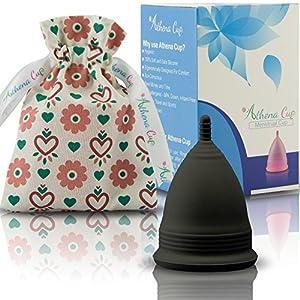 Menstruationstasse Größe 1 (klein) für leichte Blutung | 12 Stunden Schutz | wiederverwendbarer Menstruationsbecher | Menstruations Cup (Modell 1, schwarz) von ATHENA Cup