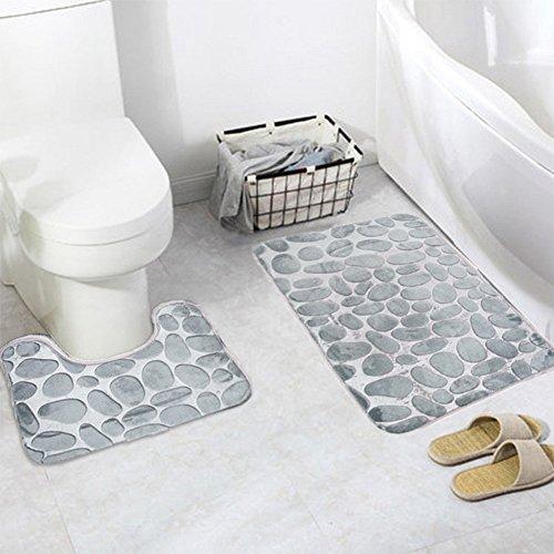 2 Stück rutschfeste Ständer Badematten Set, Eleoption atmungsaktivem Memory-Schaum Bad-Teppiche angenehm weiches Wasser saugfähig WC Badezimmer Teppich Rutschfest Ständer Unterstützung grau