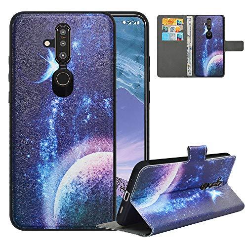 LFDZ Handyhülle für Nokia X71 Hülle,Premium 2 in 1 Abnehmbare PU Ledertasche für Nokia 6.2 Hülle,RFID-Blocker Flip Case Brieftasche Etui Schutzhülle für Nokia X71 Hülle/Nokia 6.2 Hülle,Planet