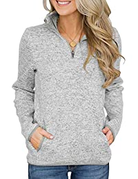 9d9733ebddef06 Asvivid Women Casual Oversized Pocket Style Quarter Zip Sweatshirt Casual  Long Sleeve Stand Collar Neck Pullover