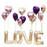 Amaoma 30 Zoll Hochzeit Ballon Set Briefe Herzförmige Mylar Ballons, Lila