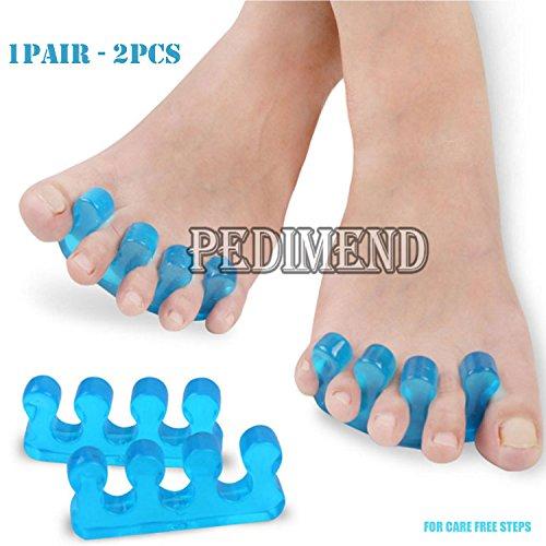 PedimendTM - Blaue Silikon-Zehenspreizer, verhindern ein Überlappen der Zehen und helfen bei der natürlichen Ausrichtung der Zehen, Unisex-Fußpflegemittel