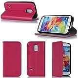 Samsung Galaxy S5 Mini 4G/LTE Hülle rosa Tasche Cover mit Stand - Zubehör Etui Galaxy SV mini Flip Case Schutzhülle Wifi/3G/4G/LTE - XEPTIO accessoires (Pu Leder - pink) - Vorbestellen