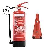 Feuerlöscher 2x 6kg ABC Pulverlöscher 10 LE mit Manometer EN3 + ANDRIS® Prüfnachweis &. ISO Symbolschild