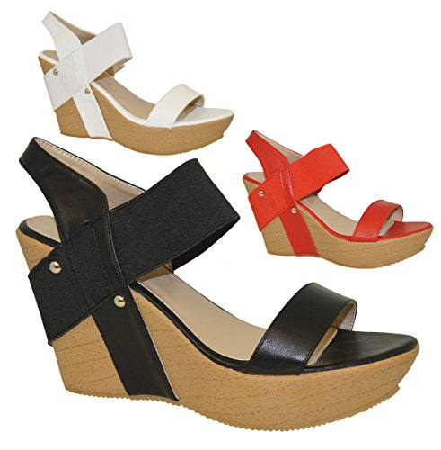 Fashion Leopard Wedge Sandals ALANA (élastique) - - Black Plain
