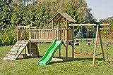 Spielturm Spielanlage mit zwei Türmen inkl. Wellenrutsche, Doppelschaukel-Anbau und Kletterseil