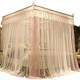 Moskitonetz Moskitonetzen Fliegennetz Mückennetz Spitzenrand Perlen Gefranst Fliege Edelstahlbügel Zarter Verrohrungsprozess Tingting (Farbe : Pink, Größe : 1.8M)