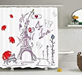 tgyew Valentines Day Eiffel Tower Shower Curtain Set Paris Decor, Autumn Romantic Paris Historic Love Valentine's Day Umbrellas Doodle, Bathroom Accessories, with Hooks, 60W X 72L Inche