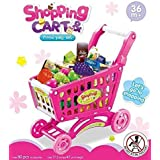 Big Shopping Cart With Many Accessories - Fruits, Vegetable, Grocery Items - Best Pretend Play Toy For Kids (Pink)