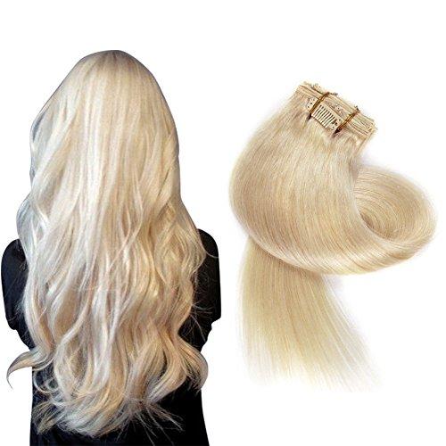 Clip in Haarverlängerung Set Echthaar Remy Haar Echthaar Clip in Extensions Blond Braun Schwarz - Platin-geld-clip