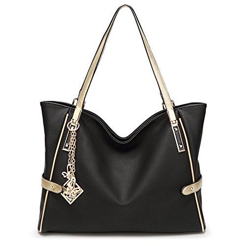 wewod Mode Borsa a mano spalla borsa in ecopelle da donna con decorazione grazioso nero