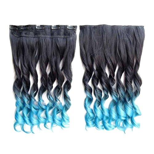 Longue perruque - TOOGOO(R) Extensions de cheveux colores 130g 60cm resistant a la chaleur fantastique synthetique longs clip dans avec 5 clips piece de cheveux (boucle, Noir + Bleu clair)