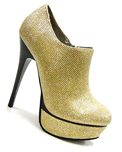 Silvester Party Pumps Disco sky High Heels ancle Boots Gold